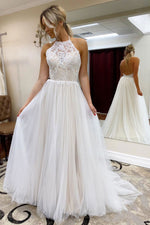 White high neck tulle lace long prom dress evening dress