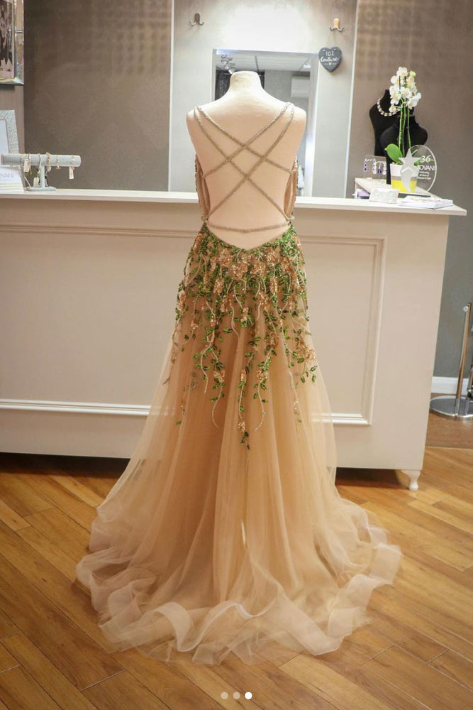 Champagne tulle beads sequin long prom dress, champagne evening dress