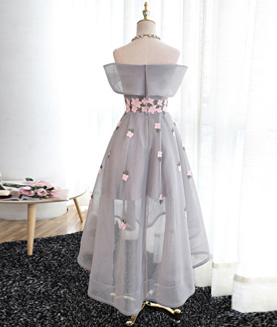Gray Organza hight-low prom dress, gray bridesmaid dress - shdress