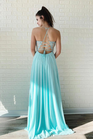 Blue lace chiffon long prom dress, lace evening dress
