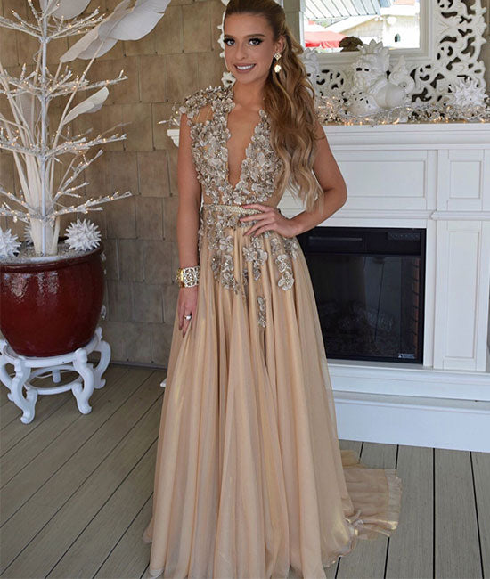 Champagne v neck chiffon applique long prom dress, champagne evening dress - shdress