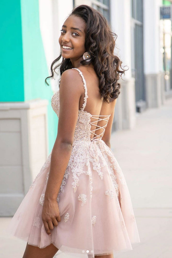 Cute sweetheart tulle lace short prom dress lace homecoming dress