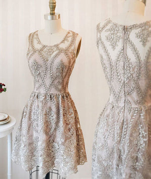 Cute round neck lace short prom dress, homecoming dress, bridesmaid dress - shdress