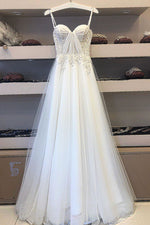 White sweetheart tulle lace long prom dress white lace evening dress