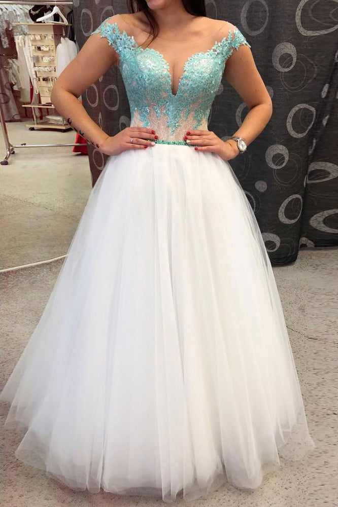 White round neck tulle lace long prom dress green evening dress