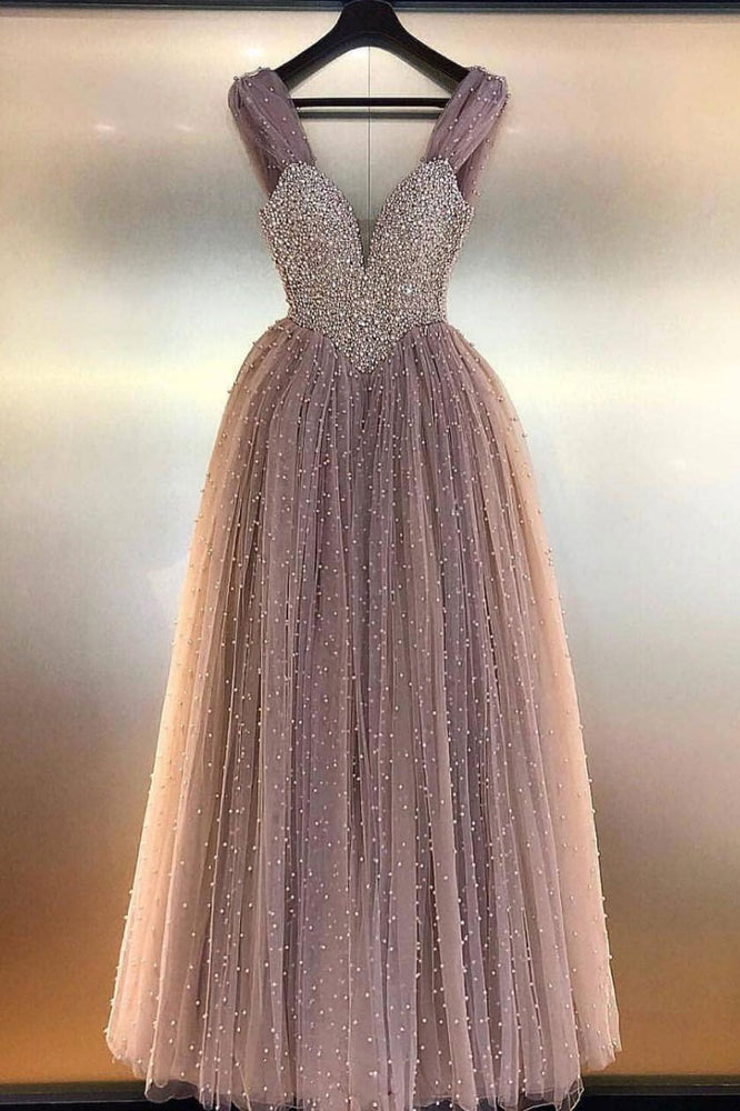 Unique sweetheart tulle beads long prom dress, tulle evening dress