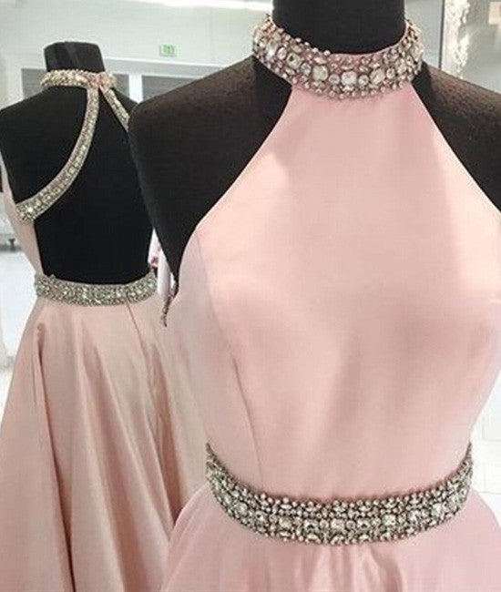 Pink high neck long prom dress, pink backless evening dress