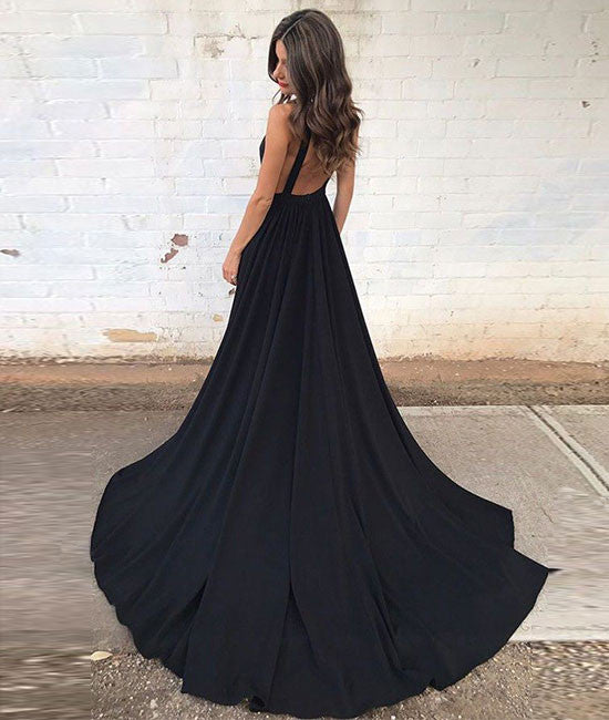 Black v neck chiffon long prom dress, black evening dress - shdress
