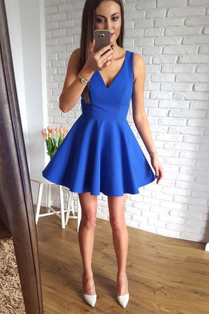 Simple blue v neck blue short prom dress, blue homecoming dress