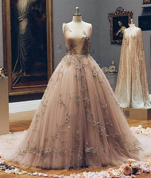 Champagne v neck tulle lace prom dress, champagne tulle evening dress - shdress