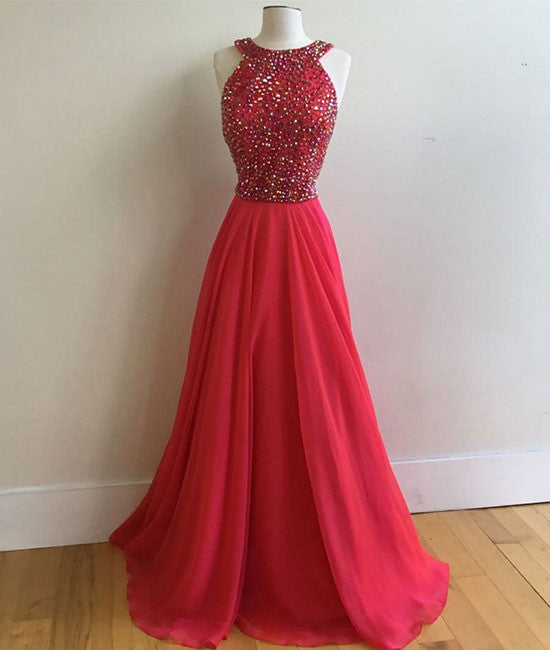 Red round neck long prom dress, red evening dress - shdress