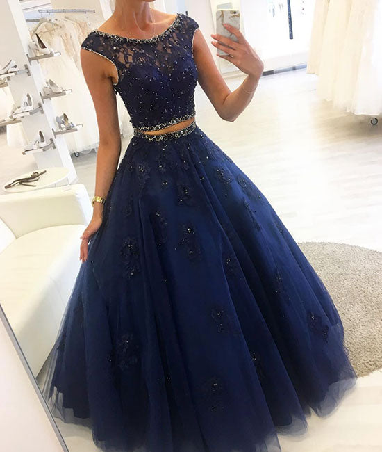 Dark blue two pieces lace long prom dress, blue evening dress