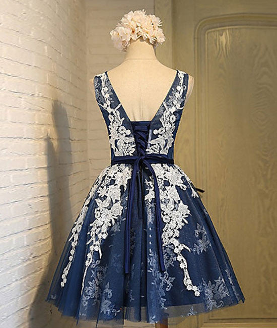 Cute round neck lace tulle dark blue short prom dress, bridesmaid dress