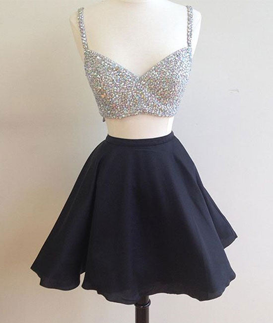 Black two pieces short prom dress, two pieces homecoming dress