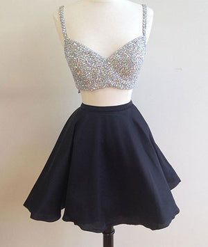 Black two pieces short prom dress, two pieces homecoming dress - shdress