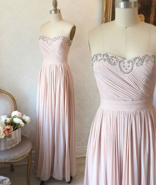 light pink sweetheart long prom dress, evening dress