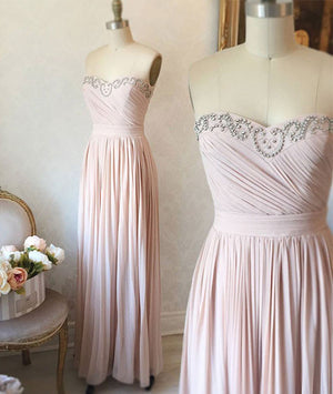 light pink sweetheart long prom dress, evening dress - shdress