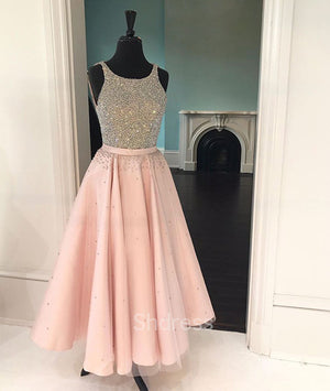 Cute pink sequin tea-long prom dress, pink sequin formal dress for teens - shdress