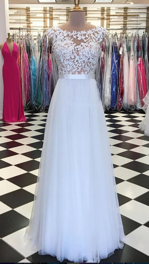 White lace applique tulle long prom dress, white evening dress - shdress