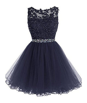 Cute lace short prom dress, lace homecoming dress - shdress