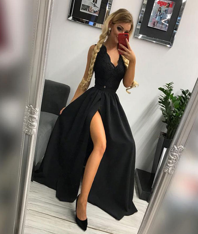 Black v neck lace long prom dress, black evening dress - shdress