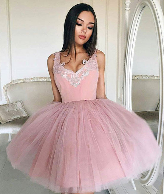 Cute v neck tulle pink short prom dress, pink homecoming dress