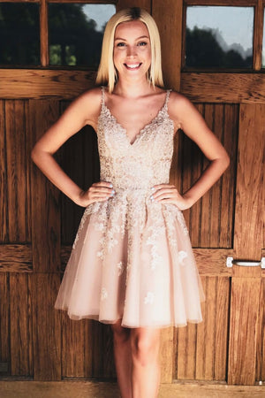 Pink satin short prom dress, pink homecoming dress
