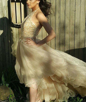 Champagne tulle high low prom dress, champagne evening dress - shdress