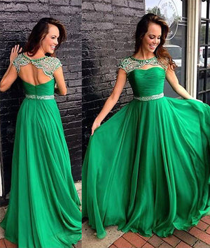 Green A-line round neck long prom dress, green formal dress - shdress