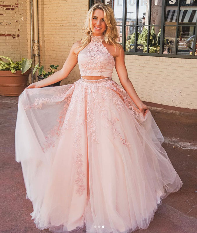 Pink two pieces lace long prom dress, pink lace evening dress