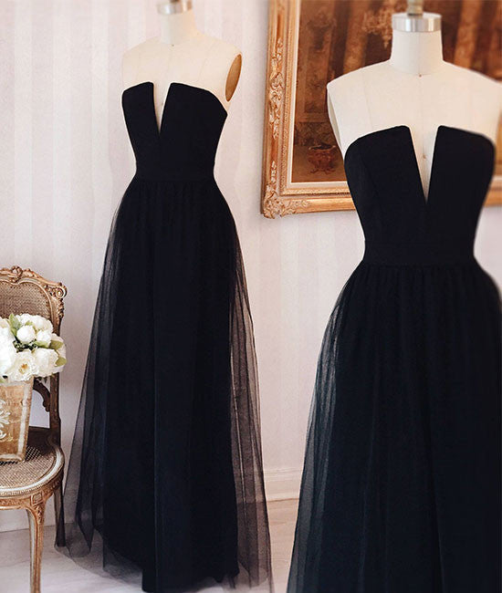 Simple tulle black long prom dress, black formal dress