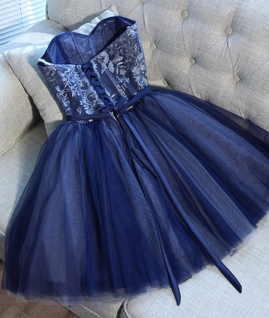 Blue sweetheart tulle lace short prom dress, homecoming dress