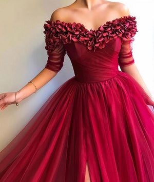 Burgundy sweetheart neck tulle long prom dress, burgundy tulle evening dress - shdress