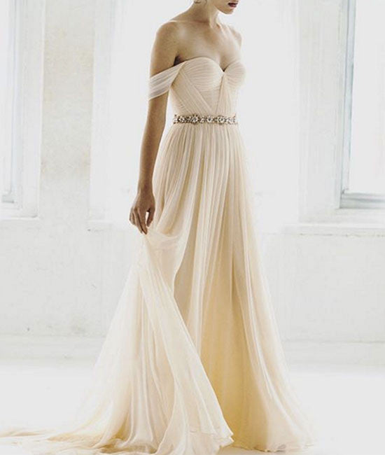 Simple champagne chiffon long prom dress, bridesmaid dress - shdress
