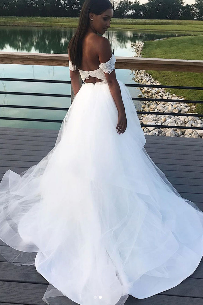 White tulle lace long prom dress, tulle evening dress