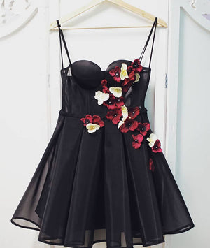 Black tulle sweetheart neck short prom dress, black homecoming dress - shdress