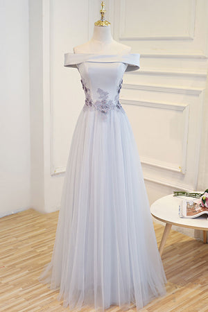 Gray tulle off shoulder lace long prom dress gray tulle formal dress