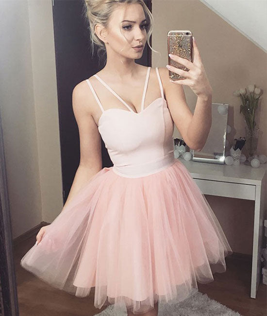 Cute sweetheart tulle short prom dress, pink homecoming dress - shdress