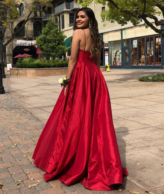 Red v neck satin long prom dress, red evening dress - shdress