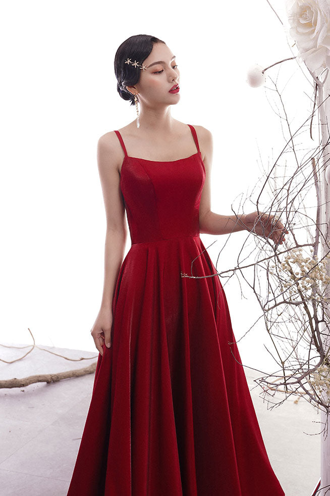 Simple burgundy satin prom dress, burgundy evening dress