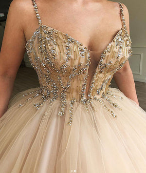 Champagne tulle sweetheart long prom dress, champagne evening dress - shdress