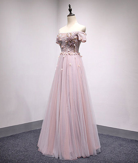 Light pink tulle lace applique long prom dress, tulle evening dress ...