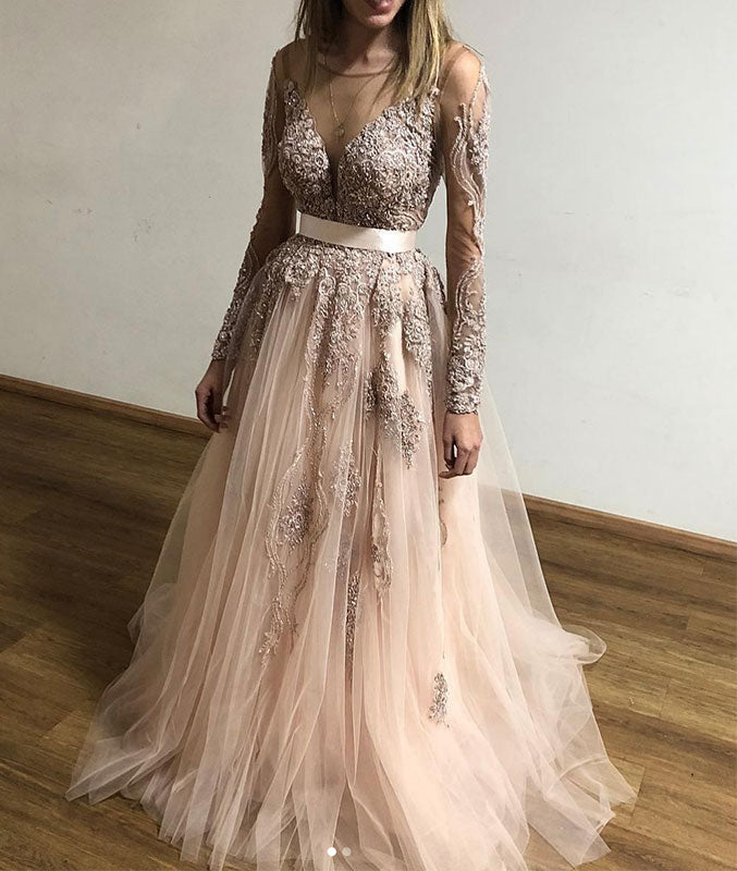 Champagne round neck lace tulle long prom dress, champagne evening dress - shdress