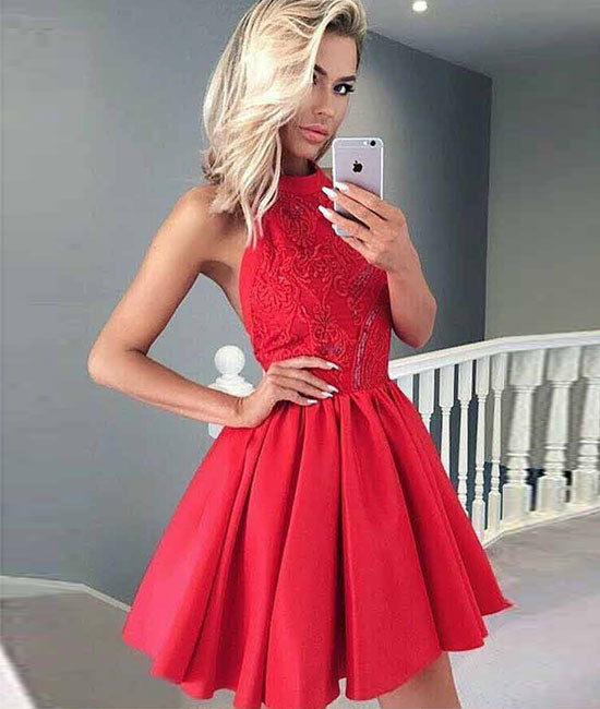Red lace satin short prom dress, red homecoming dress