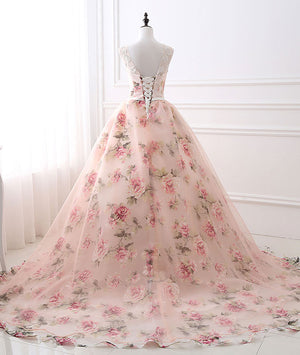 Unique round neck tulle long prom gown, unique evening dress - shdress