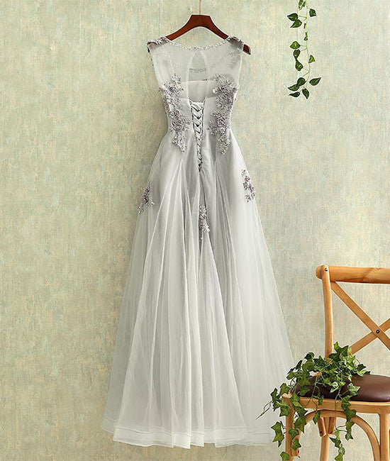 Gray round neck tulle lace long prom dress, gray evening dress - shdress