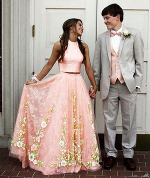Pink tulle lace two pieces long prom dress, pink evening dress - shdress