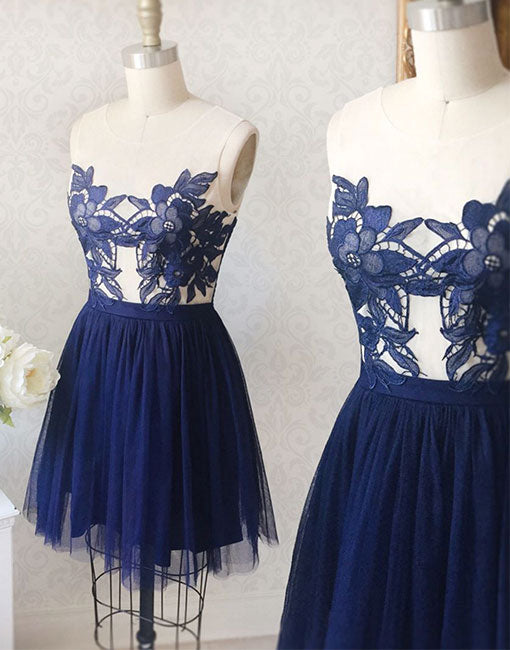 Cute round lace applique short prom dress, homecoming dress
