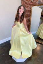 Yellow sweetheart A-line satin long prom dress yellow formal dress