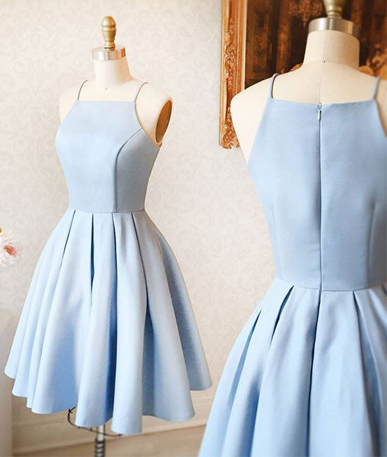 Cute light blue short prom dress, cute blue homecoming dress